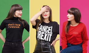 2560 1 - Statement dressing in slogan T-shirts: 'Even a small protest feels good'